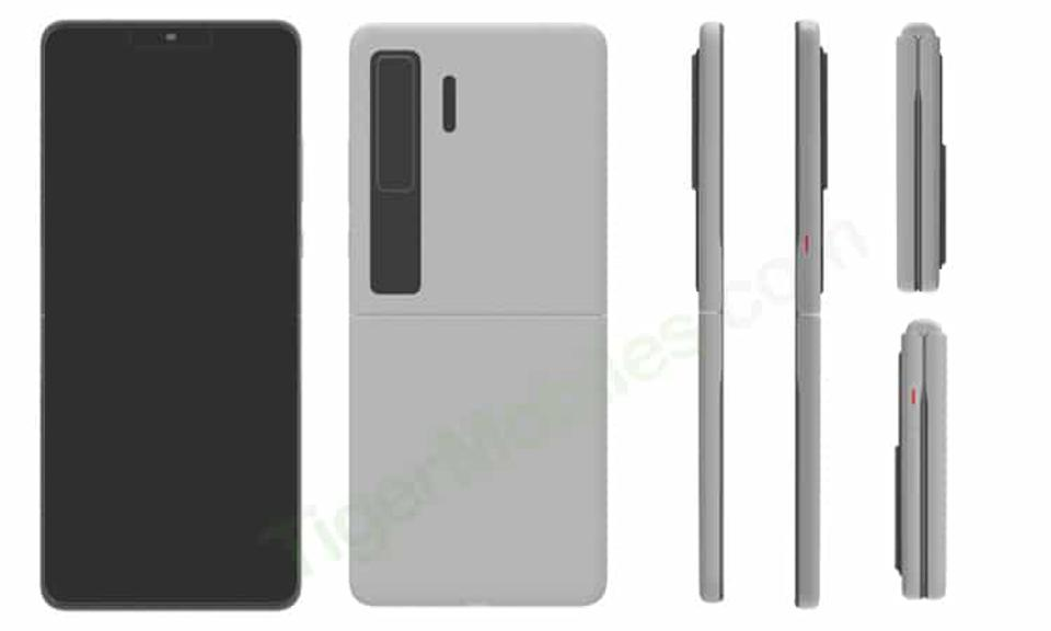 Drawings and renders of a folding phone from Huawei