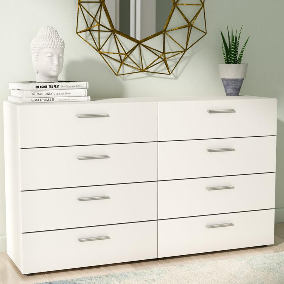 Hashtag Home Cecille Groove 6 Drawer Double DresserWade Logan Pannell 8 Drawer Double Dresser
