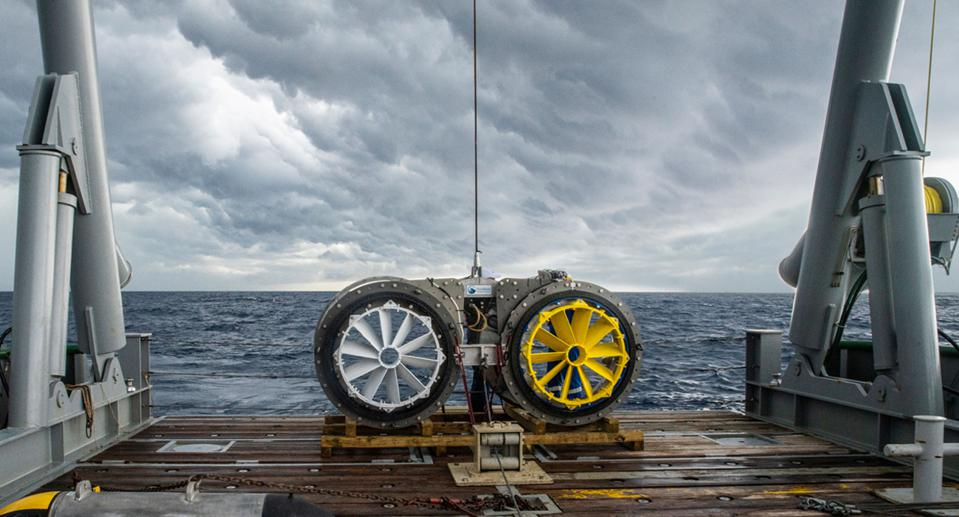 A set of turbines before they are lowered into the Gulf Stream current in the Atlantic Ocean