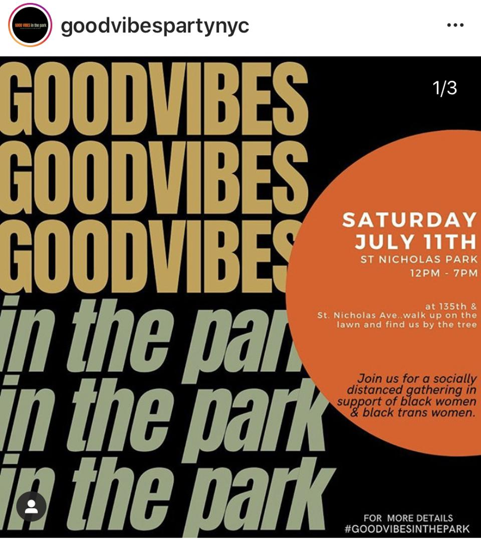 Upcoming Good Vibes in the Park event