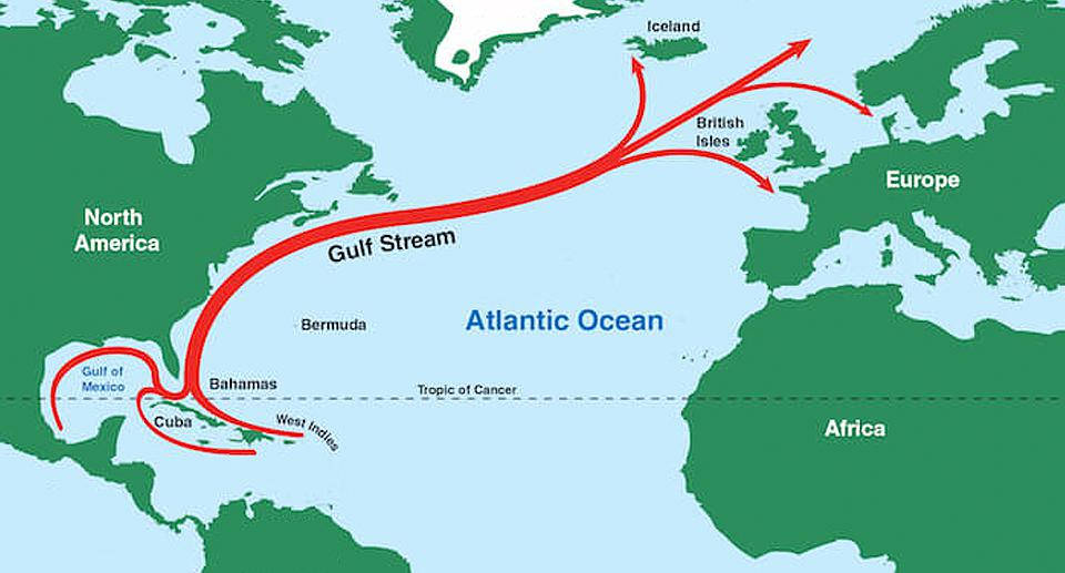 The Gulf Stream influences the climate of the US east coast from Florida to Newfoundland