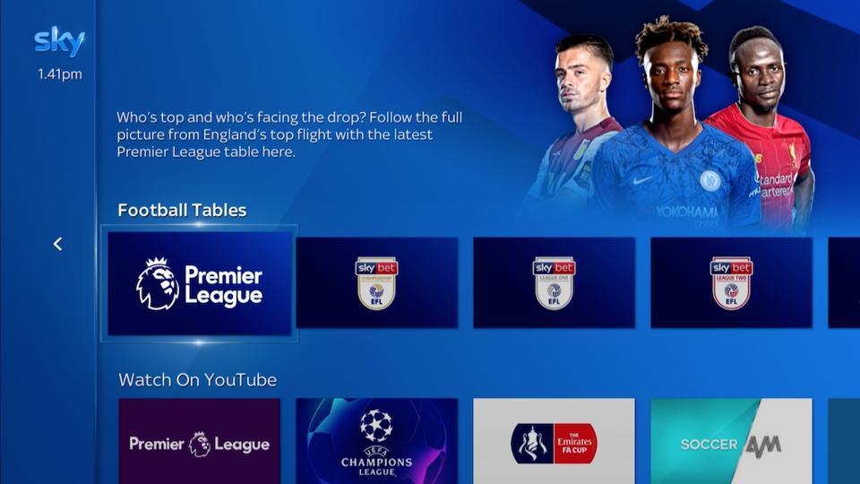 Sky Q Sports Centre - Football
