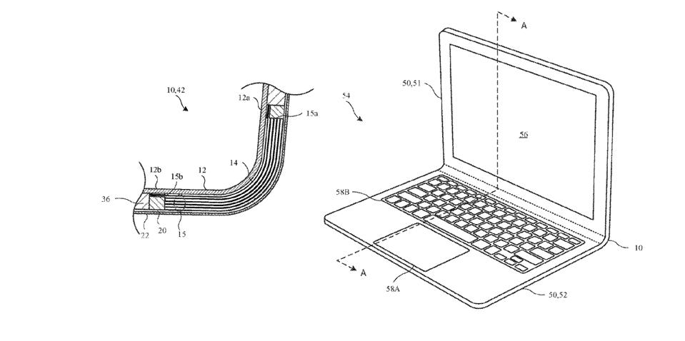 A drawing of a hinge-free laptop design