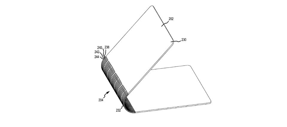 A drawing of a foldable laptop patent acquired by Apple