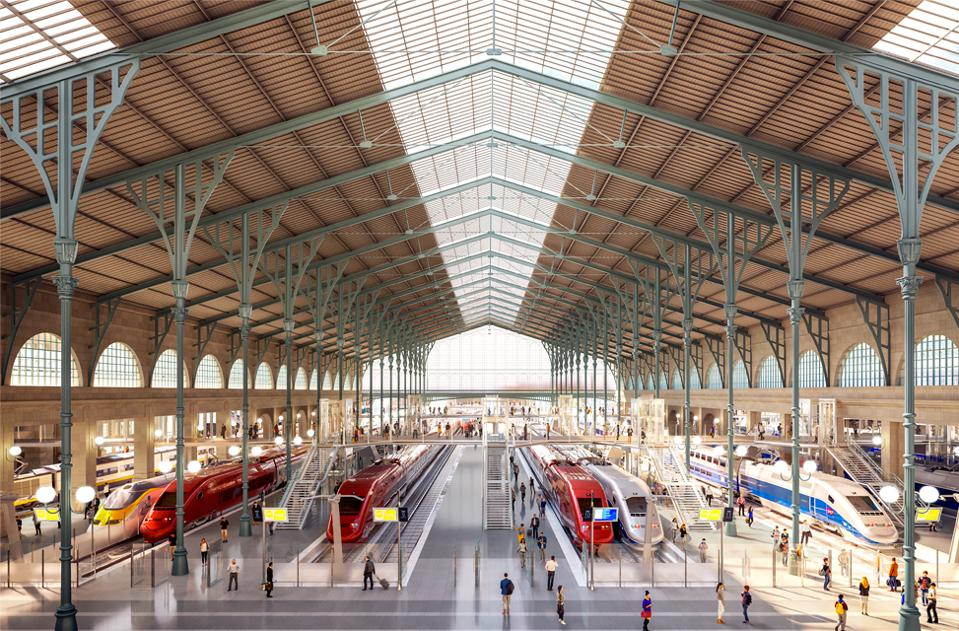 Rendering of the renovated Gare du Nord in Paris.