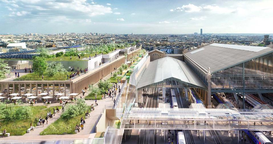 An exterior rendering of the renovated Gare du Nord in Paris.