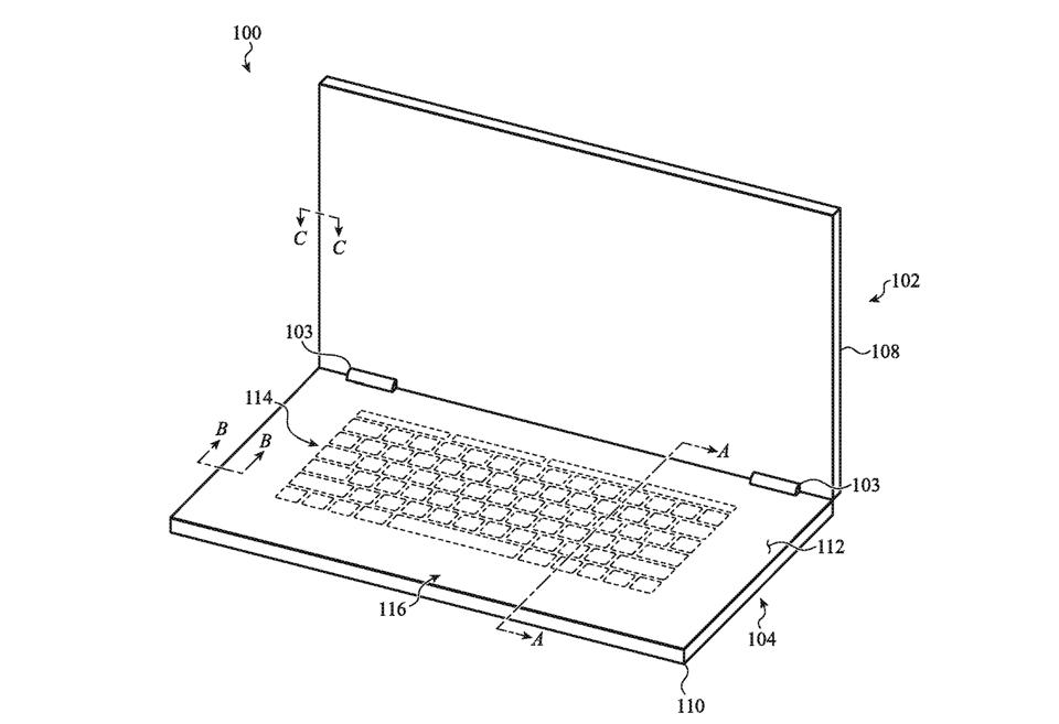 A drawing of a laptop in which the inner surface is all keyboard and trackpad