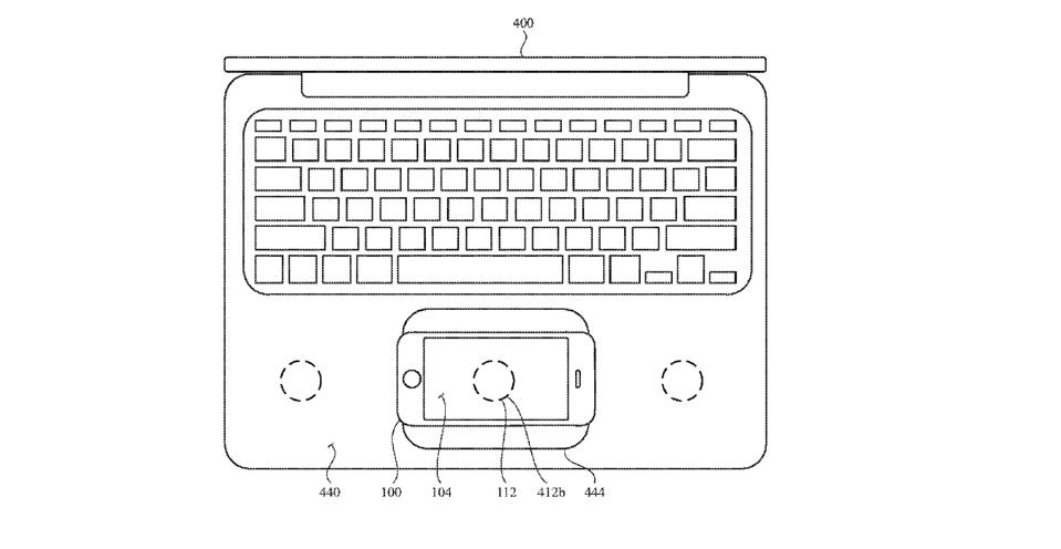 Apple laptop patent drawing with charging ports on the laptop's surface