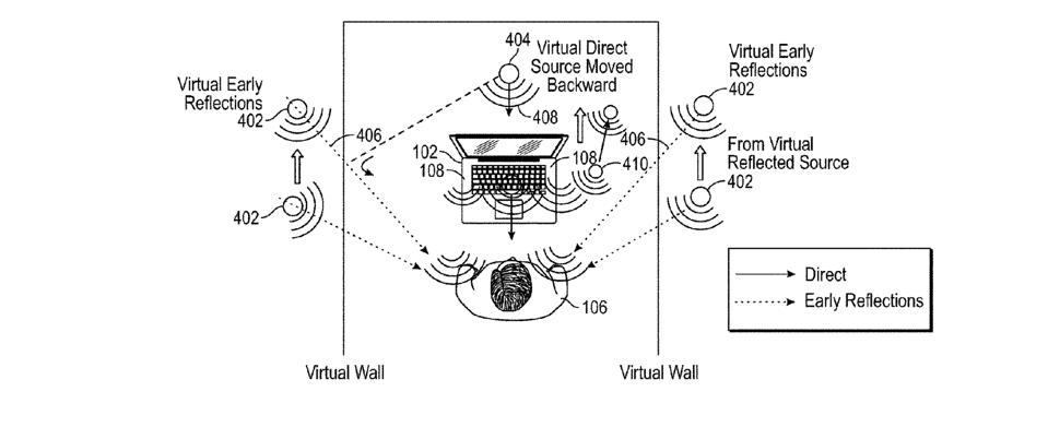 An Apple patent drawing showing the design of a laptop speaker system