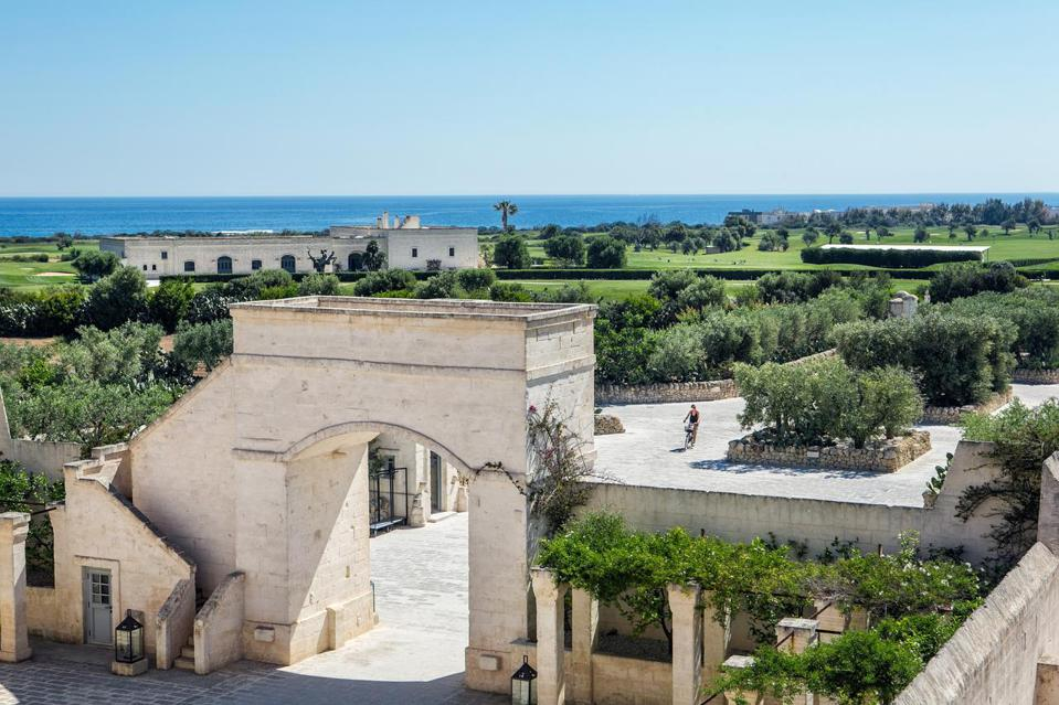 The fortress like entry to luxury farmhouse hotel spa Borgo Egnazia in Puglia Italy