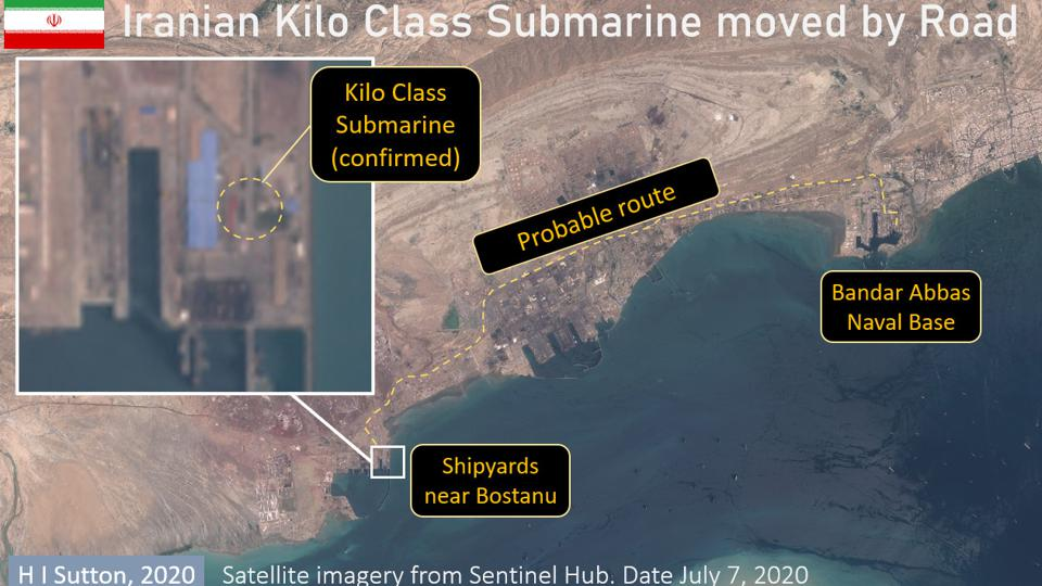 Satellite images showing Iranian Kilo Class submarine and likely route