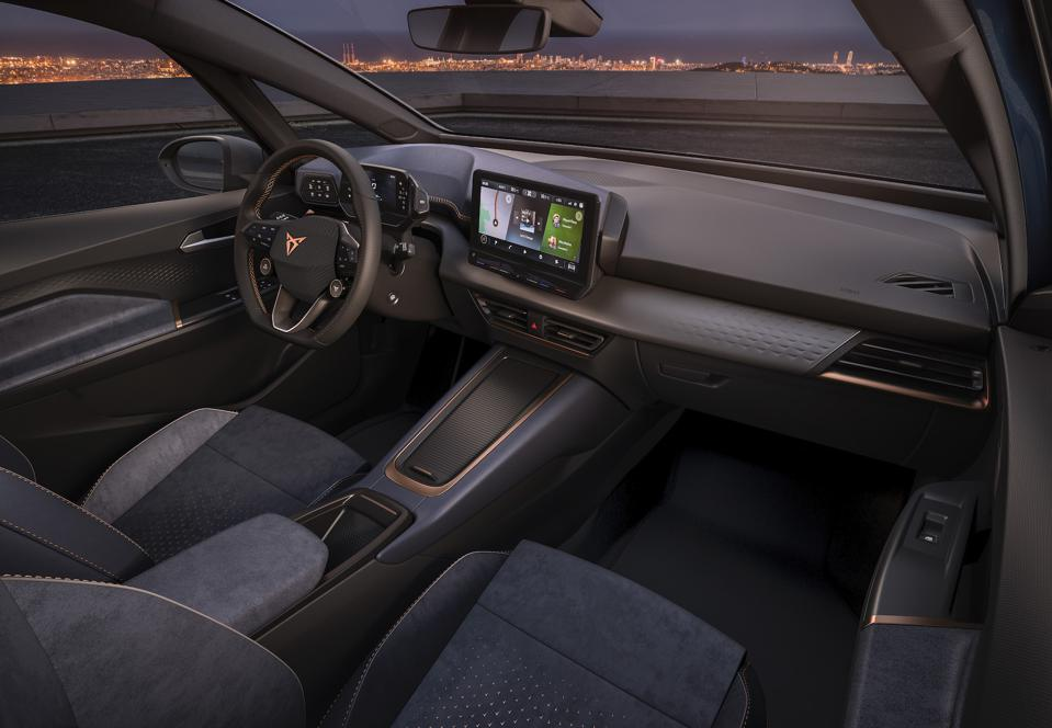 A large touchscreen infotainment system headlines the Cupra el-Born's large interior.
