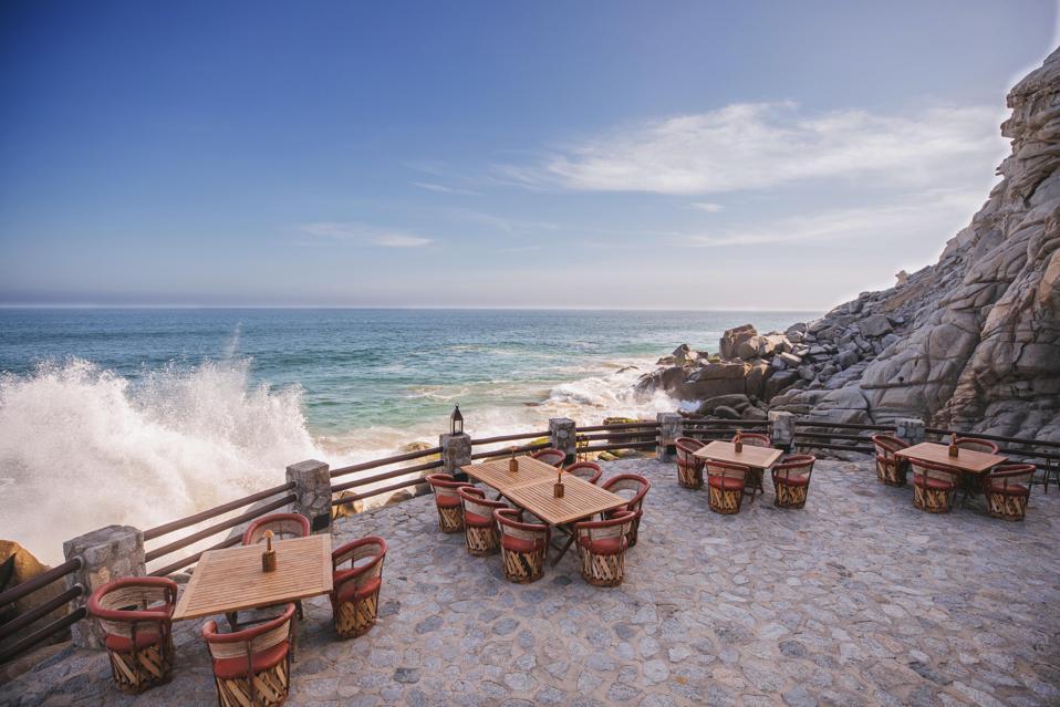 El Farallón restaurant with socially distant seating at Waldorf Astoria Los Cabos