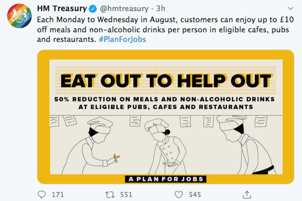HM Treasury's Eat Out To Help Out logo.