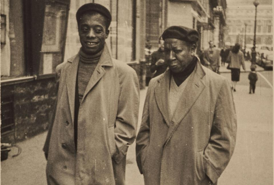 James Baldwin and Beauford Delaney, Paris, circa 1960. Photographer anonymous, photo cropped.