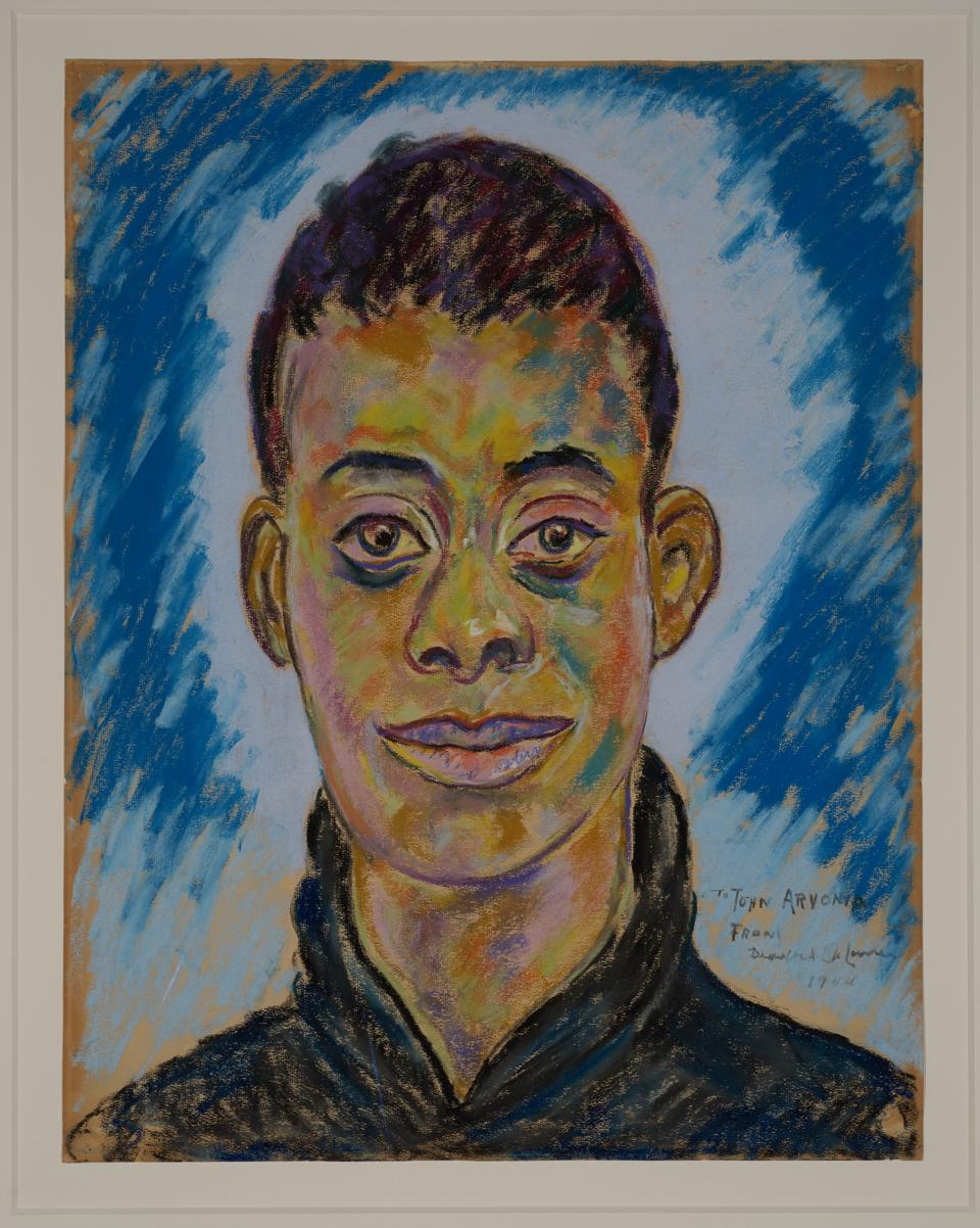 Beauford Delaney (Knoxville 1901-1979 Paris),  'Portrait of James Baldwin,' 1944. Pastel on paper, 24 x 18 3/4 inches. Knoxville Museum of Art, 2017 purchase with funds provided by the Rachael Patterson Young Art Acquisition Reserve.