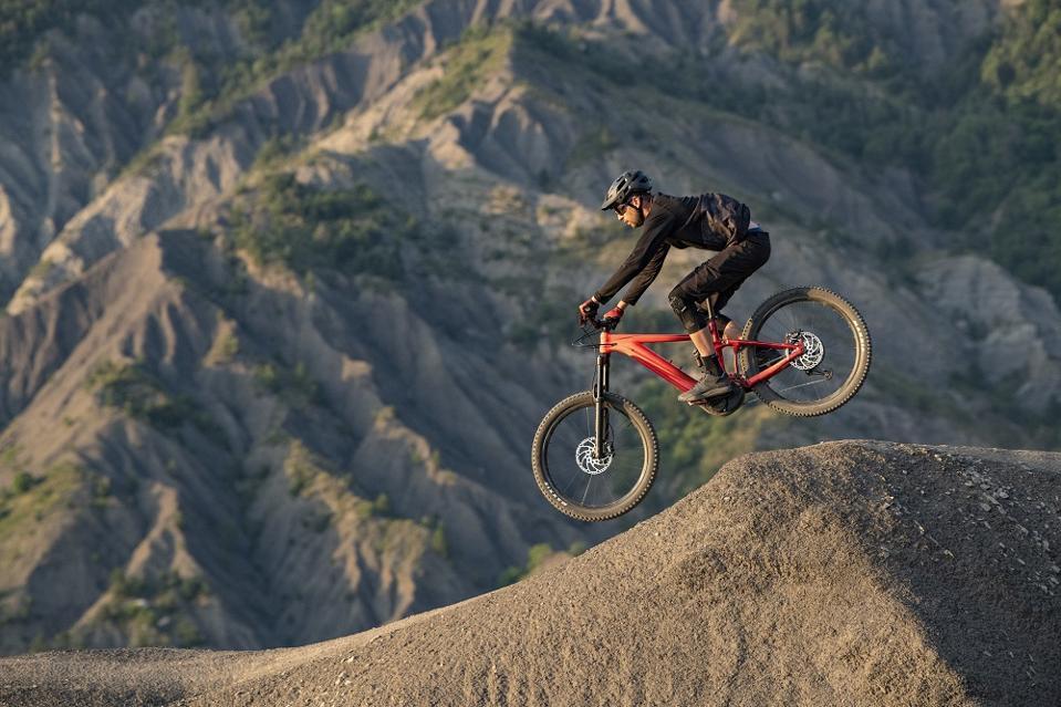 Giant E-bike mountain bike on trail