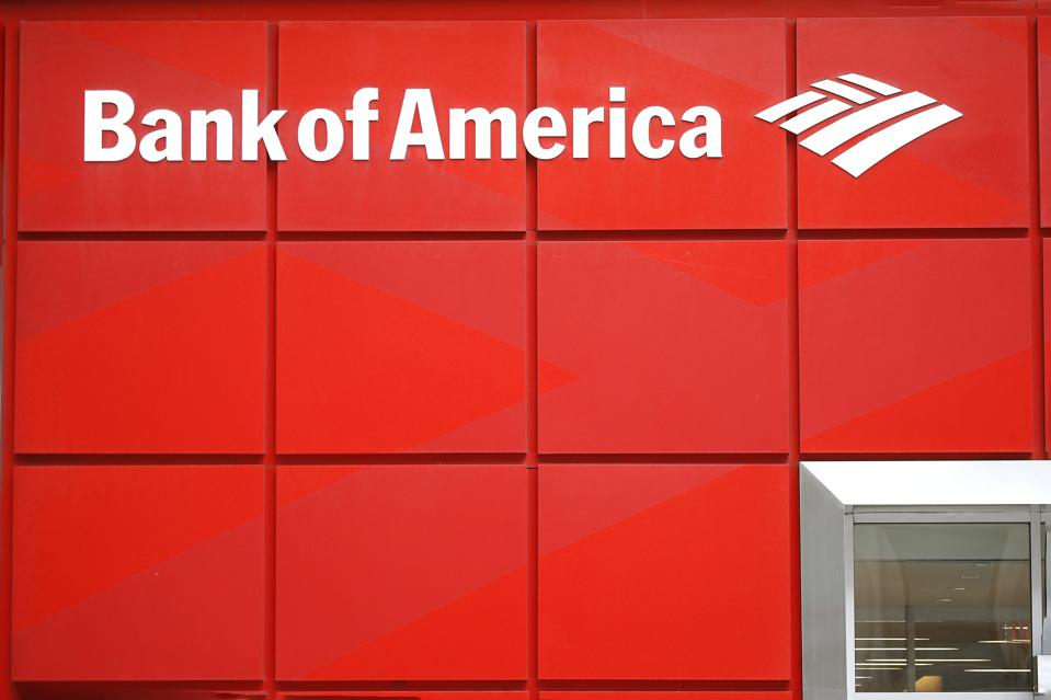 Bank of America logo is seen on one of their branches...