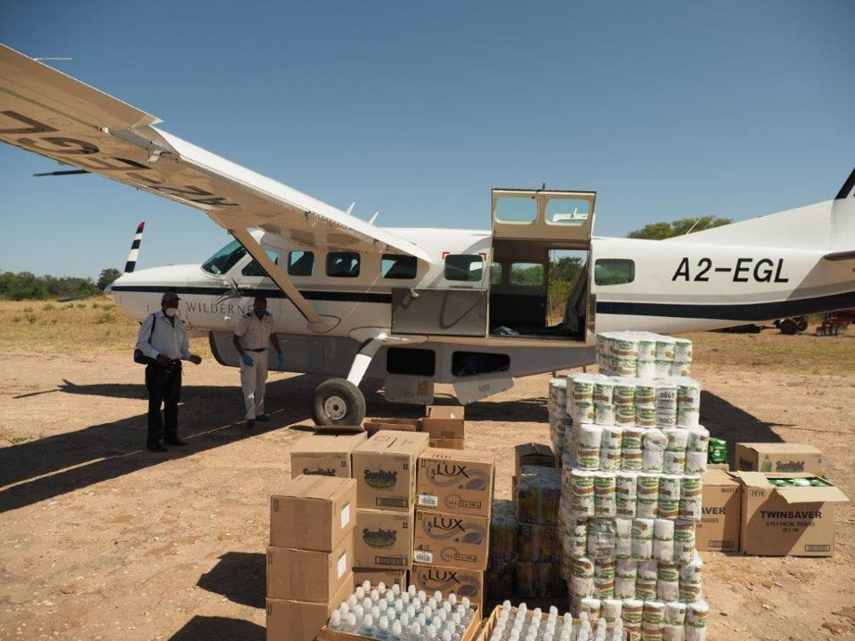 Conservation Africa News - Food supplies flown in to Seronga Village