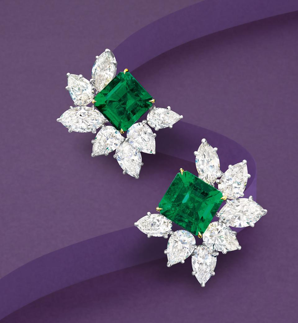 Harry Winston Colombian emerald and diamond ear clips sold for $370,960