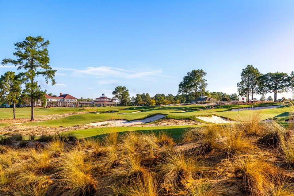 A golf hole at Pinehurst surrounded by rough.
