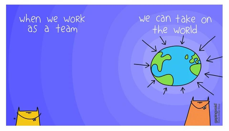 One of Gapingvoid's creatively engaging virtual backgrounds.