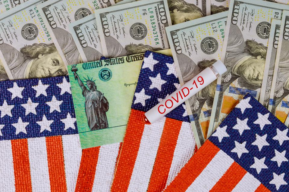 Senate passes massive stimulus bill COVID-19 on global pandemic lockdown, stimulus package financial package government for people American flag US dollar cash banknote