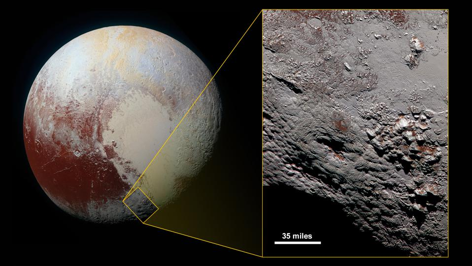 Wright Mons in Color. This composite image of a possible ice volcano on Pluto includes pictures taken by the New Horizons spacecraft's Long Range Reconnaissance Imager (LORRI) on July 14, 2015, from a range of about 30,000 miles (48,000 kilometers), showing features as small as 1,500 feet (450 meters) across.