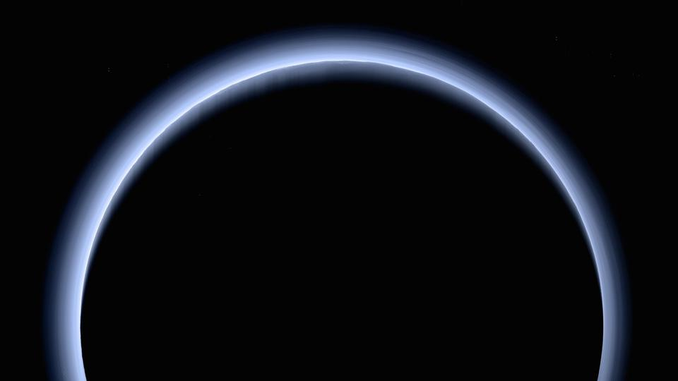 This is the highest-resolution color departure shot of Pluto's receding crescent from NASA's New Horizons spacecraft, taken when the spacecraft was 120,000 miles (200,000 kilometers) away from Pluto as the Sun illuminates the scene from the other side of Pluto and somewhat toward the top of this image.