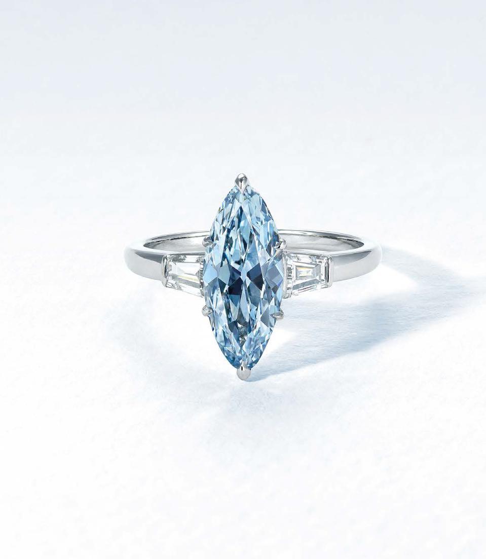 2.08-carat fancy intense blue marquise brilliant-cut diamond sold for $1.4 million