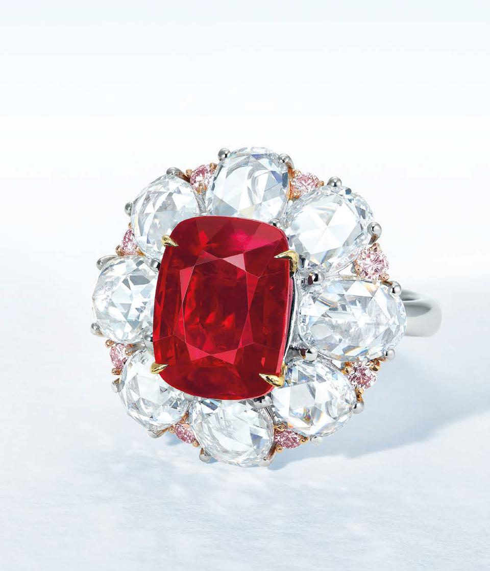 """A 6.06-carat Burmese """"pigeon blood red"""" cushion-shaped ruby fetched more than $1.2 million"""