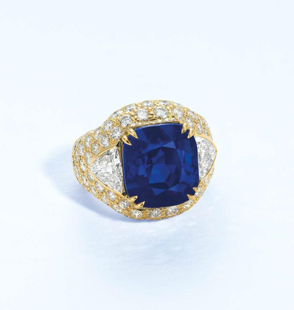 A 14.70-carat cushion-shaped Kashmir sapphire sold for more than $1.3 million.