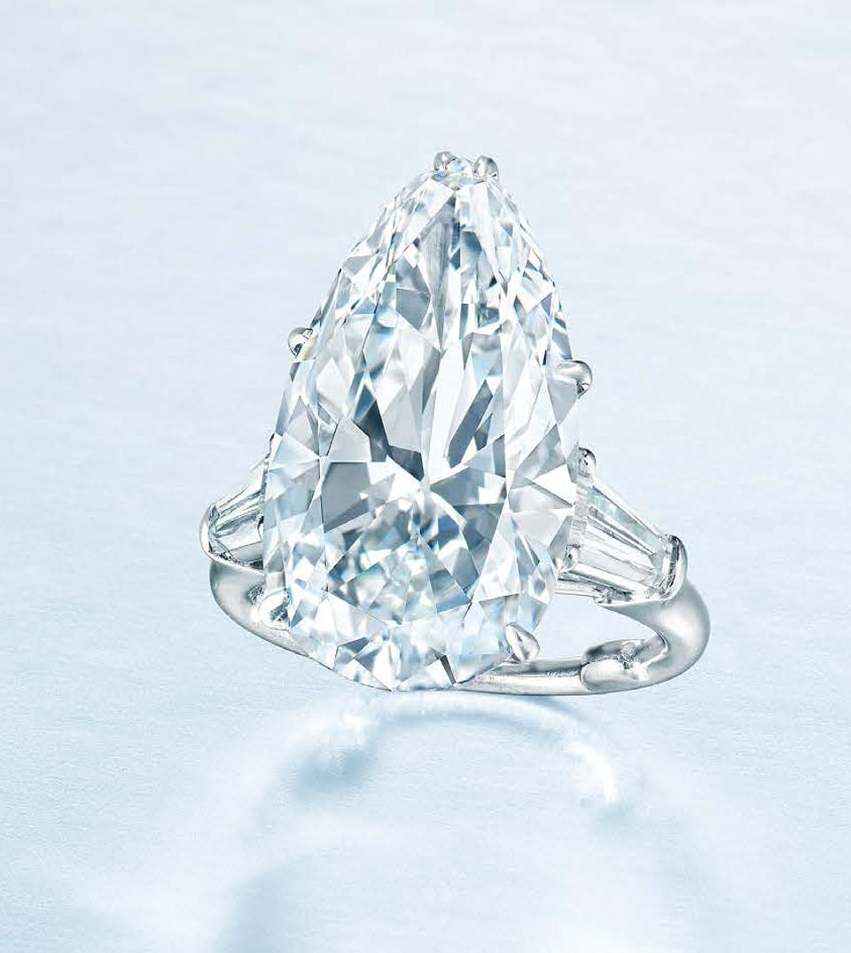 A Harry Winston platinum ring centered with a 10.59-carat pear-shaped diamond sold for $867,725
