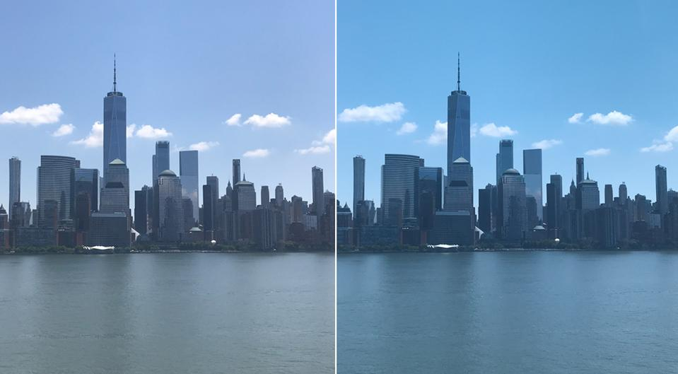 Lower Manhattan through the lenses of the Lowdown 2, right, on a sunny New York day
