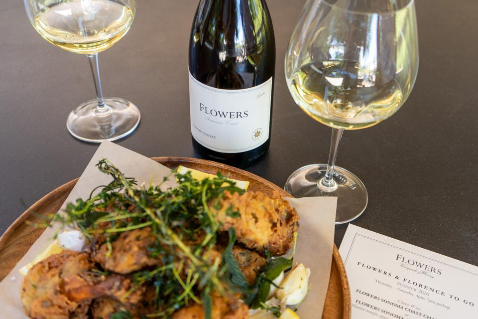Flowers' Chardonnay with chef Florence Tyler's fried chicken