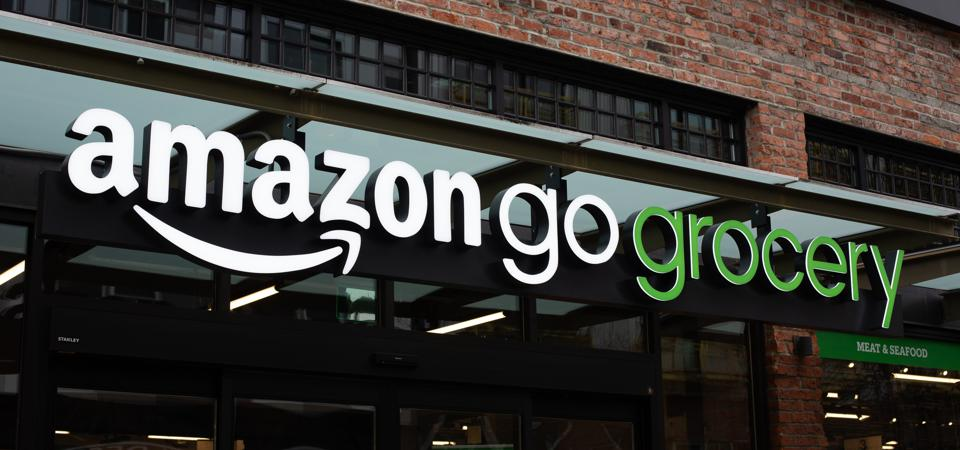 Storefront shows Amazon Go Grocery signage