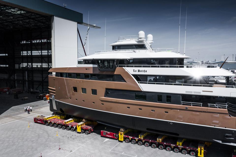 The people in front of Damen Yachting's new SeaXplorer 77 LA DATCHA in this photo provide a sence of just how big it is.