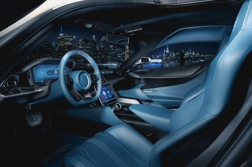 Interior of the C_Two prototype electric car by Rimac Automobili.