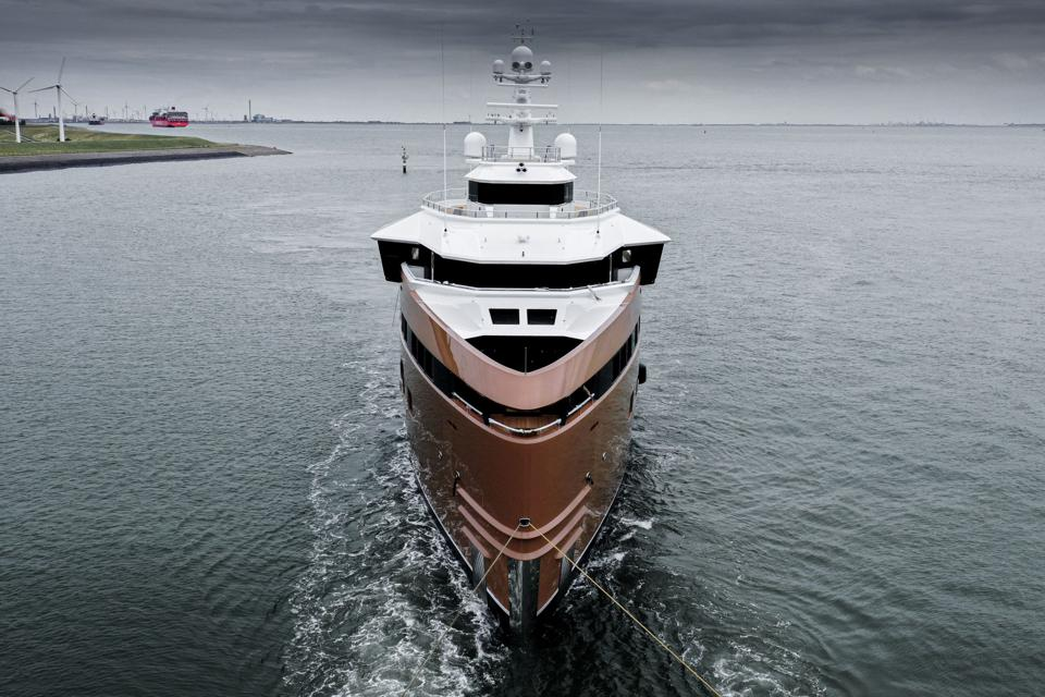 Damen Yachting SeaXplorer LA DATCHA gets underway  for the first time.