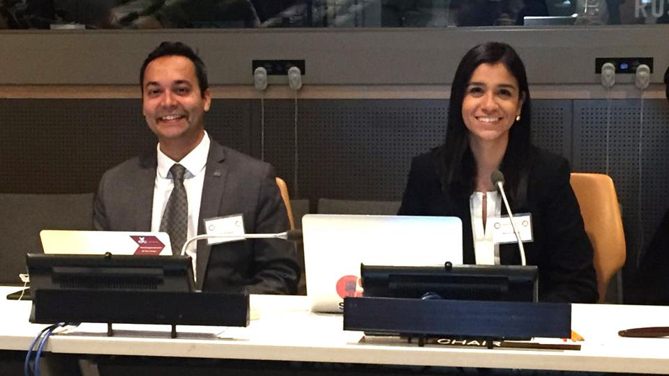 Dr Rajiv Jhangiani and Natalia Norori (right) at a panel at UN HQ in 2018.