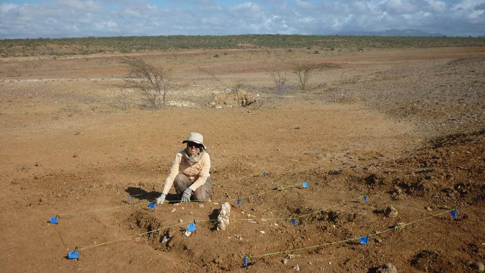 Catalina Suarez at  a paleontological excavation in La Guajira, Colombia.