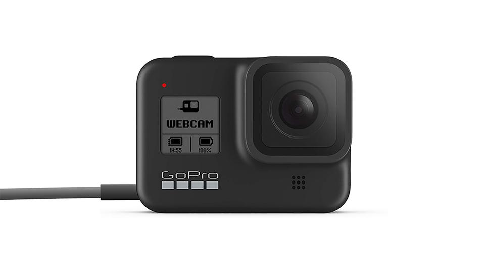 A promo picture of the GoPro Hero 8 Black used as a webcam.
