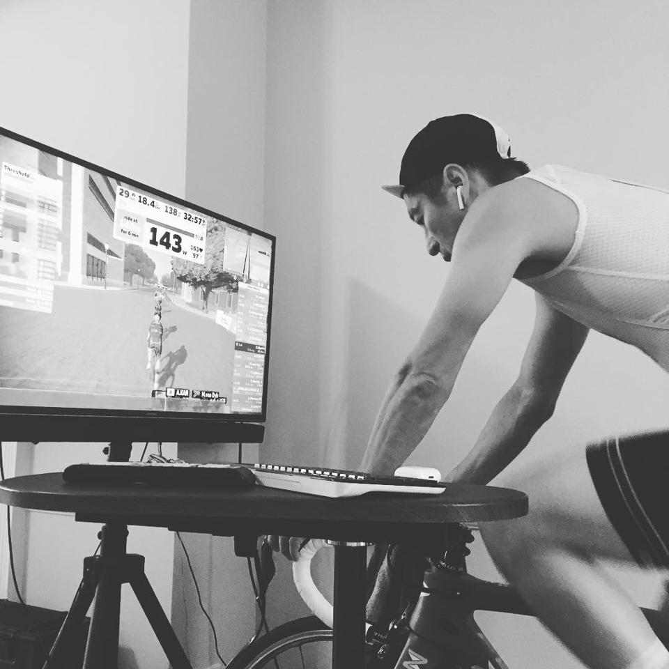Eric Min, founder and CEO using Zwift, the virtual training for running and cycling phenomenon