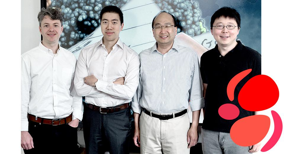 John Evans, CEO, Beam Therapeutics (L) and cofounders David Liu, J. Keith Joung, and Feng Zhang.