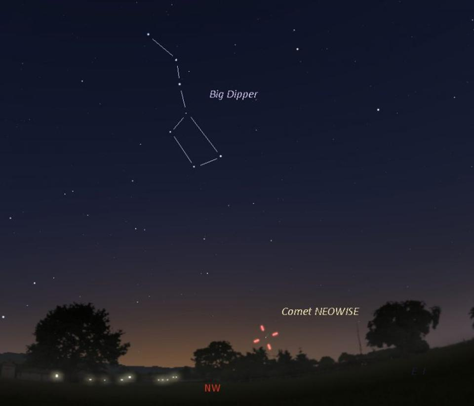 Just above the northwest horizon, Comet NEOWISE appears below the big dipper on July 13.