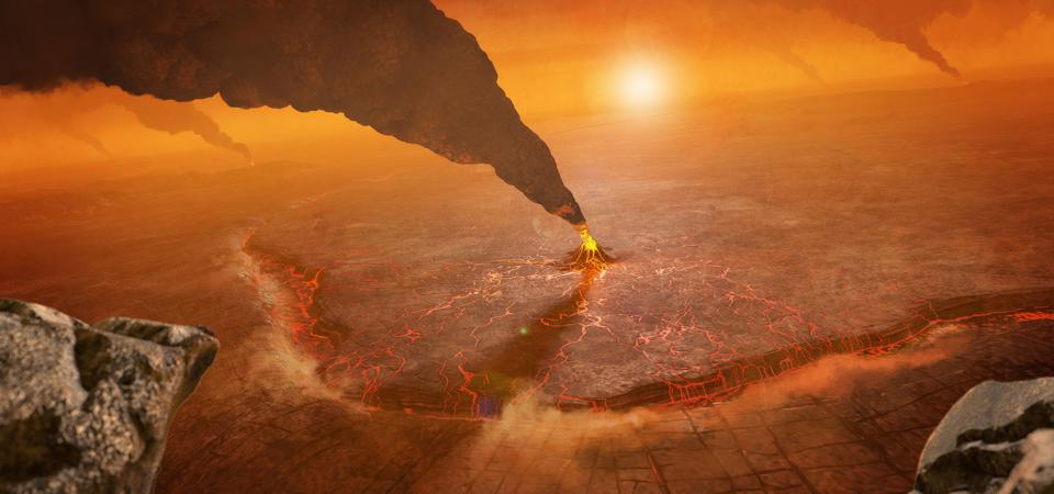 An artist's concept of active volcanos on Venus, depicting a subduction zone where the foreground crust plunges into the planet's interior at the topographic trench.