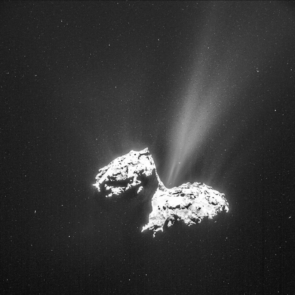 Comet 67P/Churyumov-Gerasimenko shows offgassing up close, imaged by ESA's Rosetta.