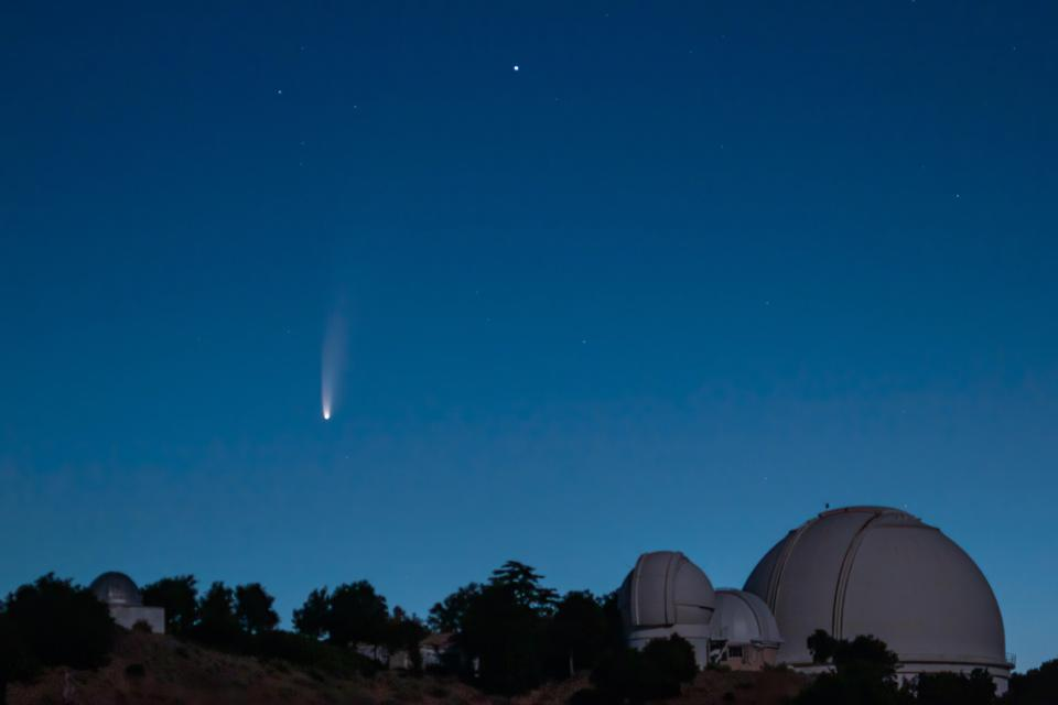 Comet NEOWISE as photographed above Lick Observatory on July 7, 2020.