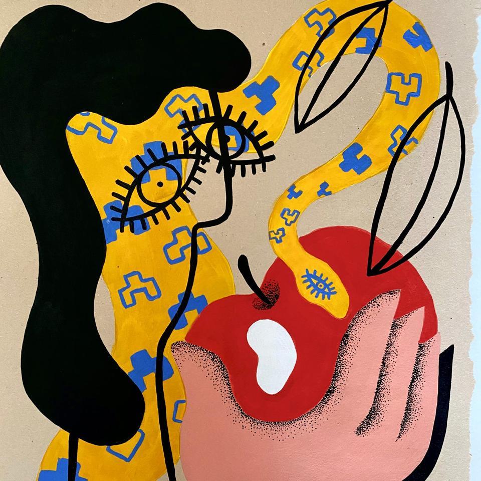 'EVE AND THE IDEA OF A HEALTHY SNACK' ORIGINAL ART nikiusagi