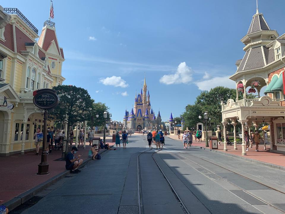 Main Street looking at the Castle without crowds, Walt Disney World 07/09/20